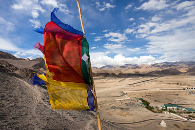 Prayer flag atop Spituk Gompa, Leh, Ladakh, India