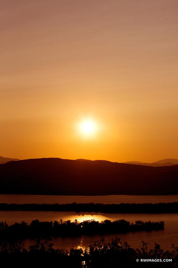 SUNSET FROM PILOT KNOB LAKE GEORGE ADIRONDACK MOUNTAINS COLOR
