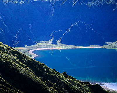 The big volcanic crater of Lagoa do Fogo (Fire Lagoon), a nature reserve and one of the most preserved sites in Sao Miguel. Azores islands, Portugal