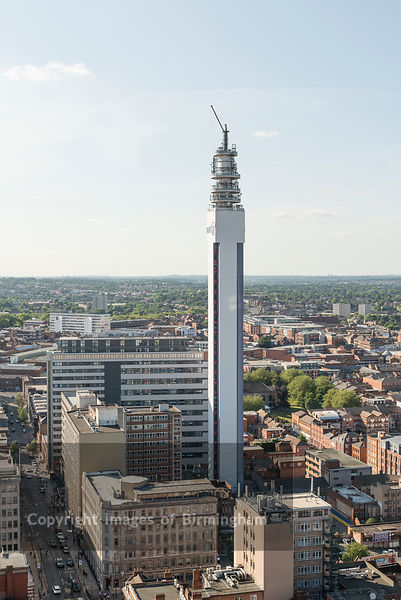 Aerial photograph of Birmingham City Centre, England. Jewellery Quarter and BT Tower