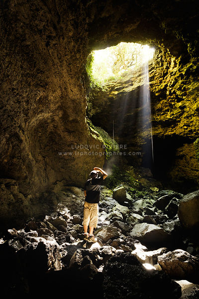 Hiker exploring the caves of Reunion Island