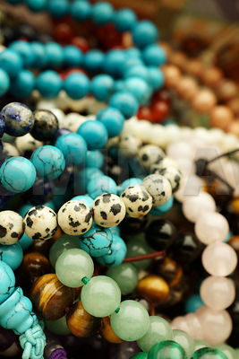 Beads bracelets made of different gemstones