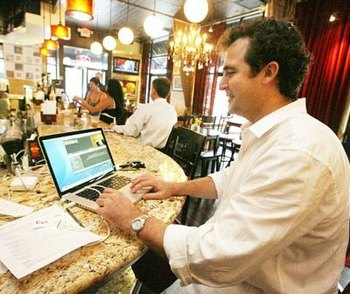 Laptop at bar