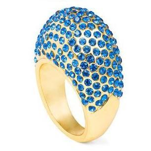 Bling Deenie gold Swarovski Ring in Blue