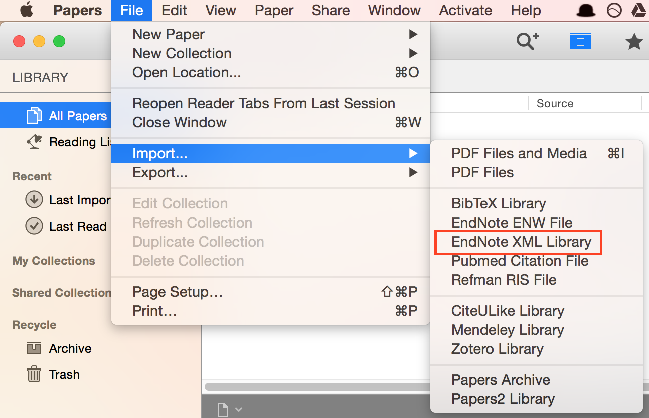 Import Endnote XML to Papers