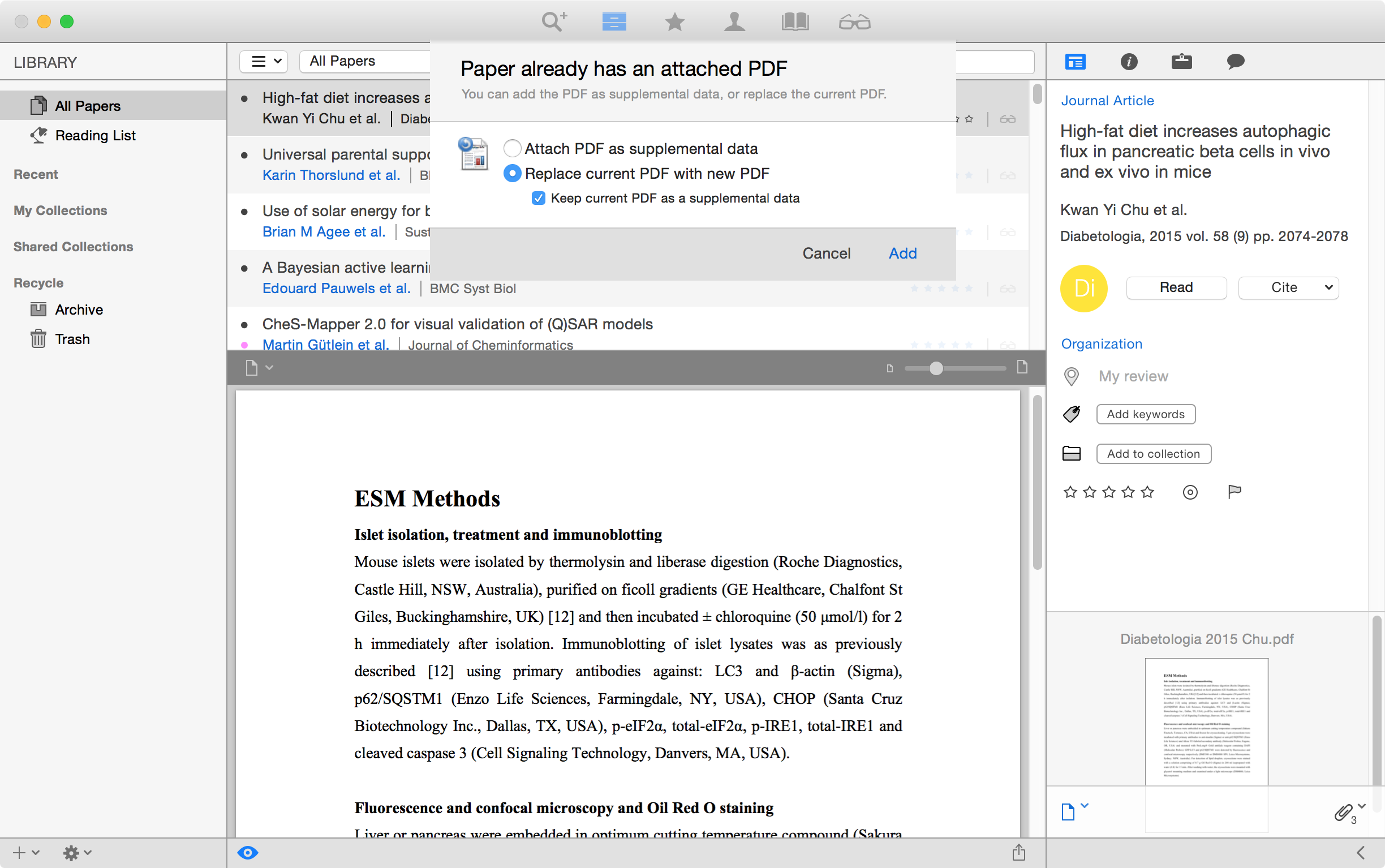 Attach a file and replace the current PDF as a supplement in Papers for Mac