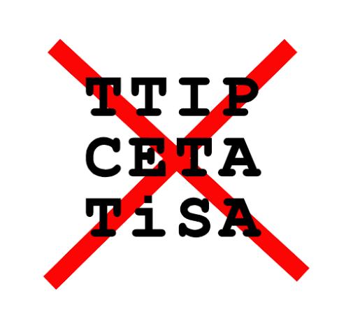Stopp No Gegen Anti TTIP CETA TiSA Freihandelsabkommen Logo
