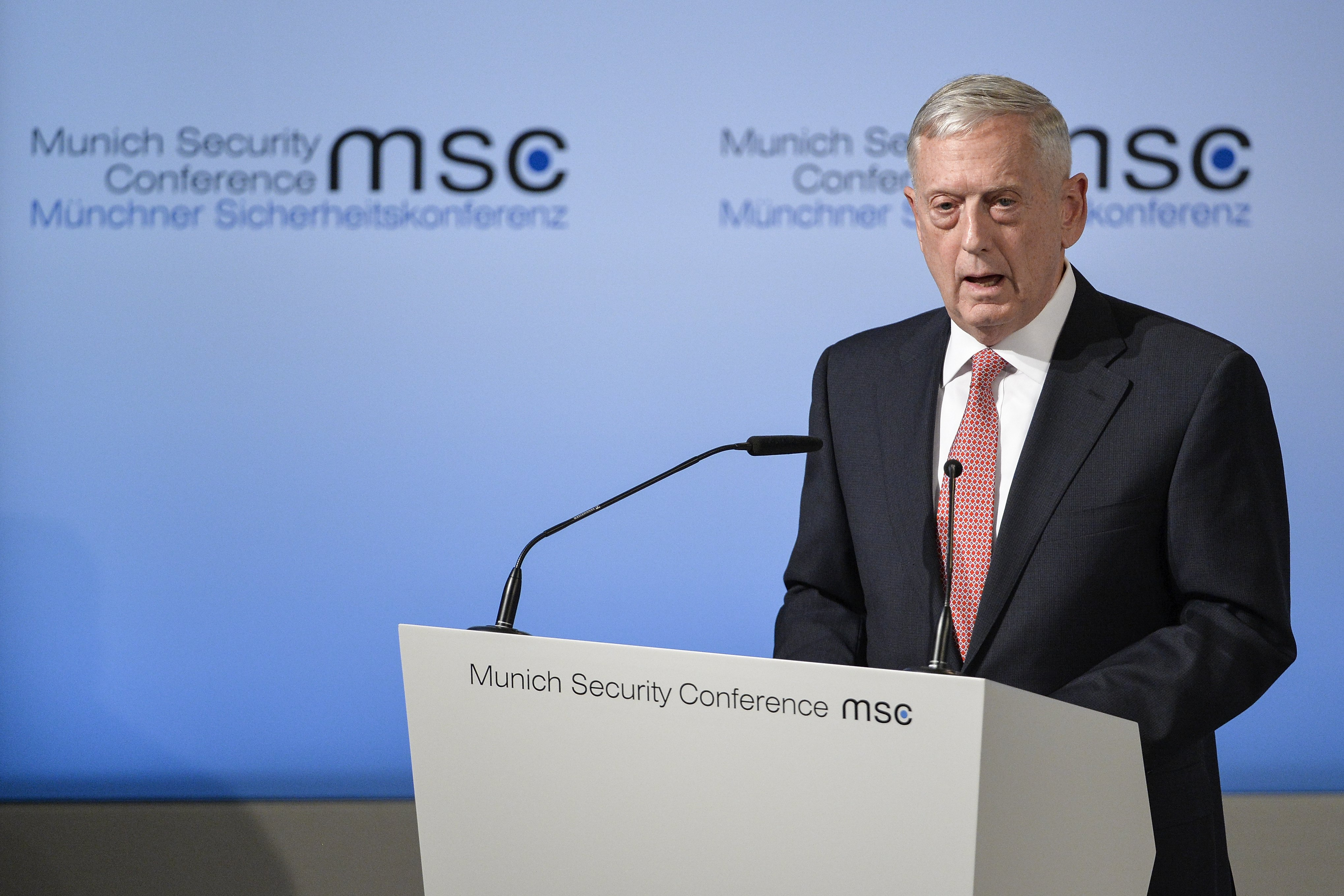 epa05799840 United States Secretary of Defense James Mattis speaks during the 53rd Munich Security Conference (MSC) in Munich, Germany, 17 February 2017. In their annual meeting, politicians and various experts and guests from around the world discuss issues surrounding global security from February 17 to 19. EPA/PHILIPP GUELLAND