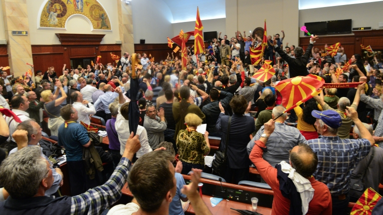 epa05931545 Protestors storm the Parliament after Social Democratic Union of Macedonia with Albanian parties elected new President of the Parliament Talat Dzaferi (not pictured) as they have parliamentary majority, in Skopje, The Former Yugoslav Republic of Macedonia on 27 April 2017. President Ivanov didn't give the mandate for a new government, Although Zoran Zaev (the leader of SDSM) provided a list of signatures, guaranteeing parliamentary majority he rejected giving him the mandate with explanation that the coalition between Zaev and the Albanian parties (with their platform for two official languages in the country) would destroy the constitutional order in the country. EPA/MAJA ZLATECSKA