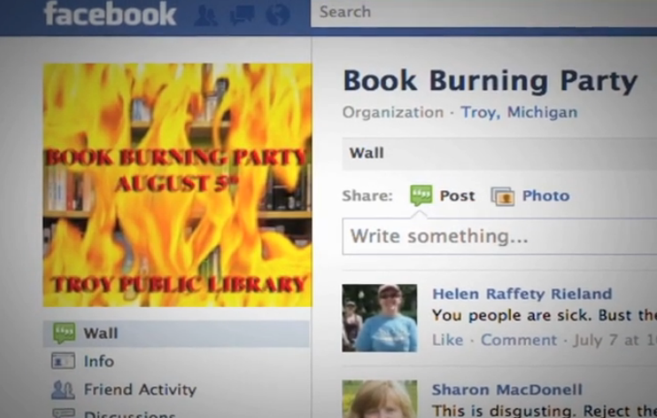 Facebook Book Burning Party Invitation
