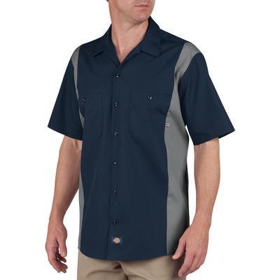 Color Block Short Sleeve Work Shirt