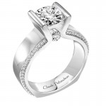 Claude Thibaudeau Platinum or 18Kt White Engagement Ring PLT-1999-MP