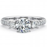 Precision Set New Aire Three Stone with Diamond Shank Engagement Ring