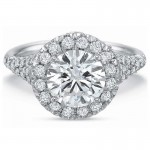 Precision Set Extraordinary Round Halo with Diamond Pave Shank Engagement Ring