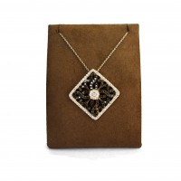 Square Black and White Diamond Fashion Necklace