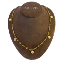 Five Diamond Yellow Gold Rope Necklace