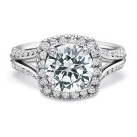 Precision Set New Aire Round Halo with Diamond Split Shank Engagement Ring