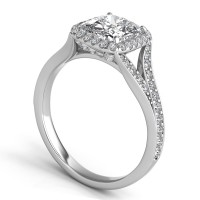 Sasha Primak Diamond Pave Split-Shank Vine and Cushion Halo Engagement Ring