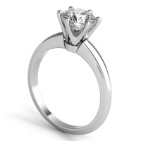 Sasha Primak Knife-Edge Raised Shoulder Decorative 6-Prong Solitaire Engagement Ring