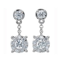 Memoire Four Prong Diamond Drop Earrings