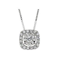 Memoire Cushion Halo Diamond Necklace