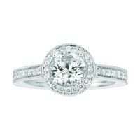 Mervis Bridal Micropave Platinum Engagement Ring