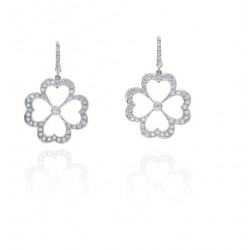 Large Pave Daisy Earrings with Diamond European Wire
