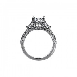 "Sasha Primak Round Diamond ""Royal Prong"" Three-Stone Crown Ring with Pave Accent"