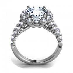 Sasha Primak Royal Prong Diamond Halo Ring With Split Shank