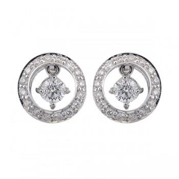 Diamond Solitaire Dangle Hoop Earrings