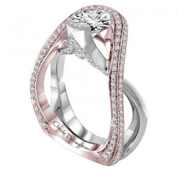 Claude Thibaudeau Platinum & 18Kt Rose Gold Engagement Ring PLT-1976R-MP