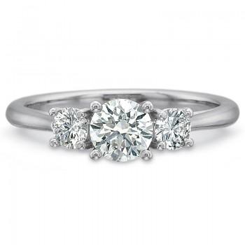 Precision Set New Aire Three Stone Round Diamond Engagment Ring
