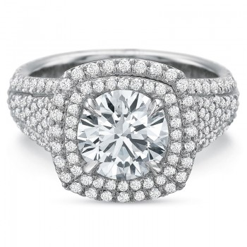 Precision Set Extraordinary Double Halo Cushion with Diamond Shank Engagement Ring