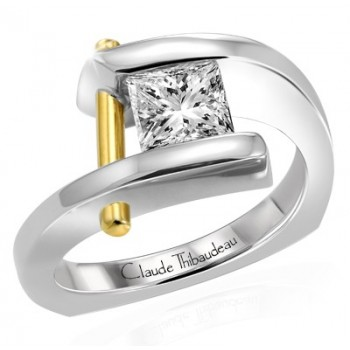 Claude Thibaudeau Pure Perfection 24K Yellow Gold Platinum Ring PLT-1754