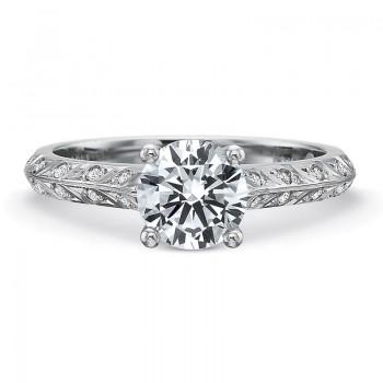 Precision Set Petite FlushFit™ Diamond Leaf Motif Band Engagement Ring