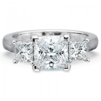 Precision Set FlushFit Three Stone Engagement with Princess Cut 2.00CT Center and .80CTW Princess Cu