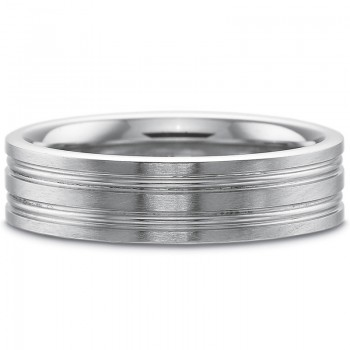 Precision Set Men's 6MM Coin Edge and Accent Lines Wedding Band