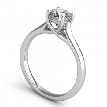 "Sasha Primak Contoured Open Shoulder Integrated 4-Prong ""Trellis"" Solitaire Engagement Ring"
