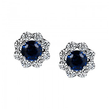 "Sasha Primak Blue Sapphire Stud Earrings with ""Royal Prong"" Diamond Halo"