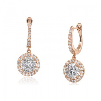 Memoire Halo Diamond Drop Earring