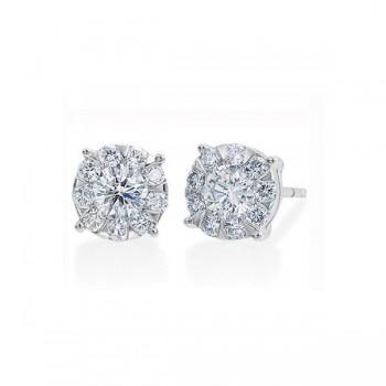 Memoire Four Prong Diamond Stud Earrings