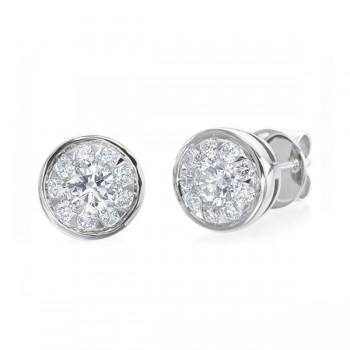 Memoire Bezel Set Diamond Stud Earrings