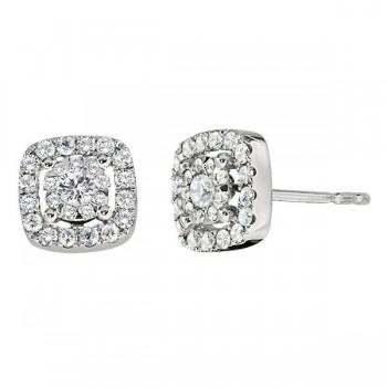 Memoire Cushion Halo Diamond Stud Earrings