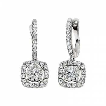 Memoire Cushion Halo Diamond Drop Earring