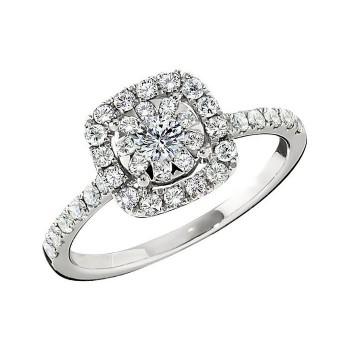 Memoire Cushion Halo Diamond Engagement Ring