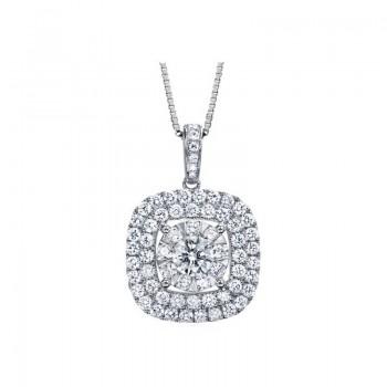 Memoire Double Halo Diamond Necklace