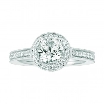 Mervis Bridal Micropave 14K White Gold Engagement Ring