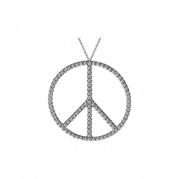Sasha Primak Pave Diamond Peace Symbol Pendant