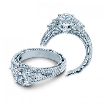 Verragio Three Stone Halo Split Shank Engagement Ring