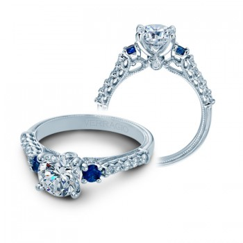 Verragio Three Stone Sapphire & Diamond Engagement Ring